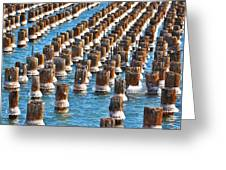 Marquette Harbor Icy Piers Greeting Card