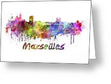 Marseilles Skyline In Watercolor Greeting Card