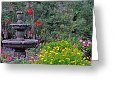 Garden Fountain And Flowers Greeting Card