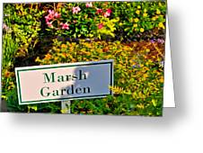 Marsh Garden Sign And Flowers Greeting Card