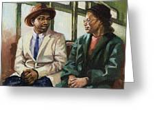 Martin And Rosa Up Front Greeting Card by Colin Bootman