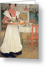 Martina Carrying Breakfast On A Tray Greeting Card