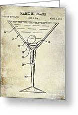 Martini Glass Patent Drawing Greeting Card