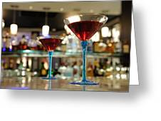 Martini Glasses In Bar Greeting Card