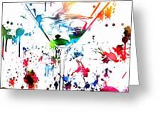 Martini Paint Splatter Greeting Card