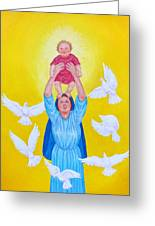 Mary Offers Her Child Jesus To His Father Greeting Card
