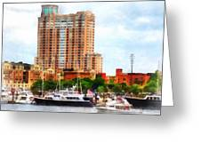 Maryland - Boats At Inner Harbor Baltimore Md Greeting Card
