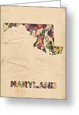 Maryland Map Vintage Watercolor Greeting Card