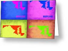 Maryland Pop Art Map 1 Greeting Card