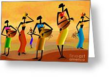 Masai Women Quest For Water Greeting Card