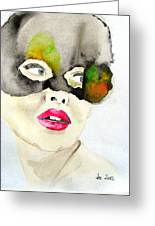 Mask In Watercolor Greeting Card