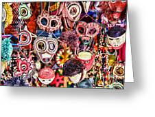 Mask Me In El Casco By Diana Sainz Greeting Card