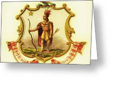 Massachusetts Coat Of Arms - 1876 Greeting Card