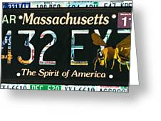 Massachusetts License Plate Greeting Card