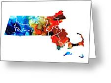 Massachusetts - Map Counties By Sharon Cummings Greeting Card by Sharon Cummings