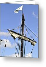 Mast And Rigging On A Replica Of The Christopher Columbus Ship P Greeting Card