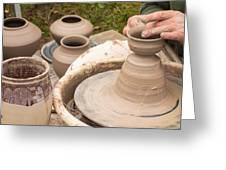 Master Potter Shaping Clay Greeting Card by Dancasan Photography