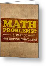 Math Problems Hotline Retro Humor Art Poster Greeting Card by Design Turnpike