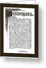 Matted Charcoal Florentine Desiderata Poster Greeting Card