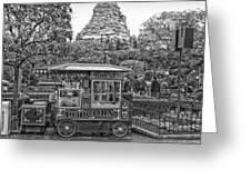 Matterhorn Mountain With Hot Popcorn At Disneyland Bw Greeting Card