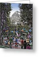 Matterhorn Mountain With Tea Cups At Disneyland Greeting Card