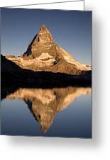 Matterhorn Reflected In Riffelsee Lake  Greeting Card