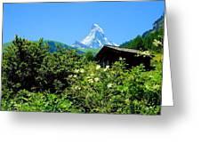 Matterhorn With Mountain Chalet Greeting Card