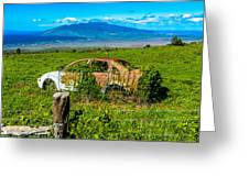 Maui Upcountry Rusted Car Greeting Card