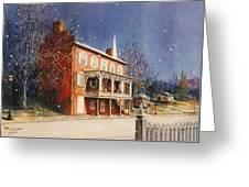 May House In Winter Greeting Card by Melodye Whitaker