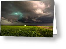 May Thunderstorm - Storm Twists Over House On Colorado Plains Greeting Card