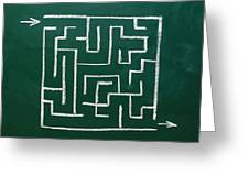 Maze On A Chalkboard Greeting Card