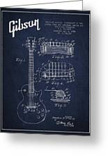 Mccarty Gibson Les Paul Guitar Patent Drawing From 1955 - Navy Blue Greeting Card