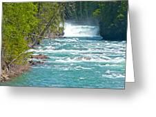 Mcdonald Creek Falls In Glacier Np-mt Greeting Card