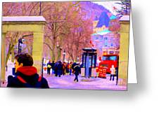 Mcgill Campus Eager Students Enter Roddick Gates Montreal Collectible Art Prints Carole Spandau  Greeting Card