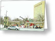 Mcgill Campus Student Cycles By Roddick Gates Sherbrooke St Montreal Winter Scene Carole Spandau  Greeting Card