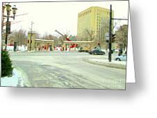 Mcgill University Campus Sherbrooke Street Scene Early Morning Winter Day Montreal Carole Spandau Greeting Card