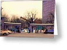 Mcgill University The Night Shift Arrives Sherbrooke Downtown Montreal Scenes Carole Spandau  Greeting Card