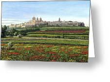 Mdina Poppies Malta Greeting Card by Richard Harpum