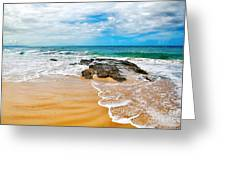 Meandering Waves On Tropical Beach Greeting Card