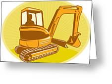 Mechanical Digger Excavator Retro Greeting Card by Aloysius Patrimonio