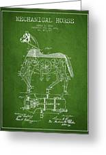 Mechanical Horse Patent Drawing From 1893 - Green Greeting Card