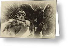 Medieval Barbarian Artur And Spirit 2 Greeting Card