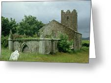 Medieval Church And Churchyard Greeting Card