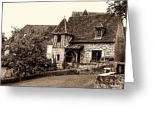 Medieval Cottage In Sarlat Sepia Greeting Card