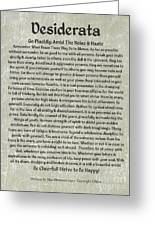 Medieval Desiderata Poster On Estruscan Marble Greeting Card