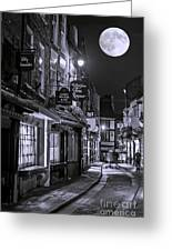 Medieval Street In York Bw Greeting Card