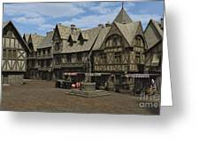 Medieval Town Square Greeting Card