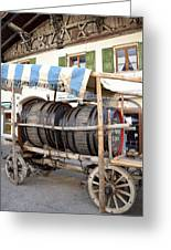 Medieval Wagon Used For Transporting Wine Greeting Card by Elzbieta Fazel