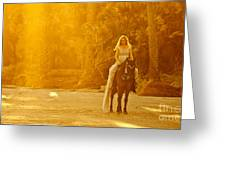 Medieval Woman On Horseback Greeting Card