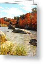 Fall Cypress At Bandera Falls On The Medina River Greeting Card